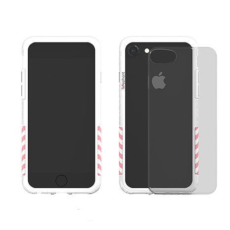 太樂芬 iPhone 6/7/8 工業風抗汙防摔手機殼-白框+粉條紋
