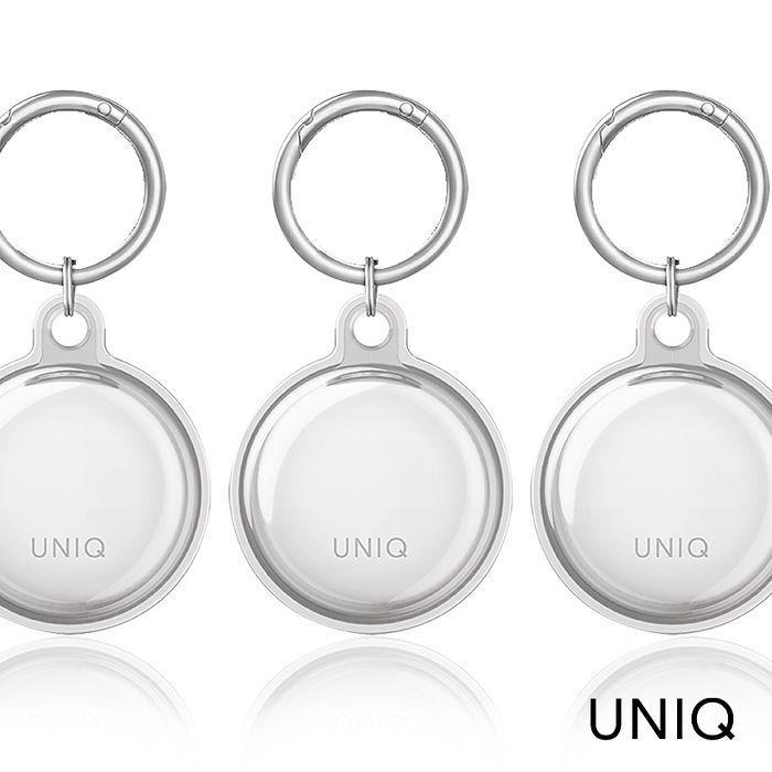 UNIQ AirTag Glase 全包覆輕薄透明鑰匙圈保護套-透明