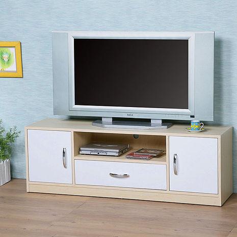 Homelike 清新森林電視櫃-楓木+白色