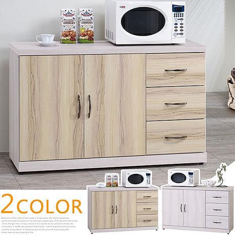 Homelike 喬琳4尺餐櫃(二色可選)白栓木紋雙色