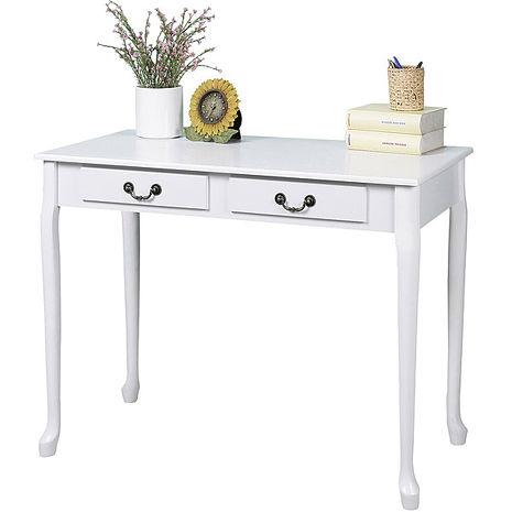 Homelike 典雅歐風二抽書桌(純白色)