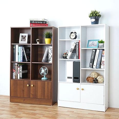 Homelike 戴爾八格二門書櫃(二色任選)純白