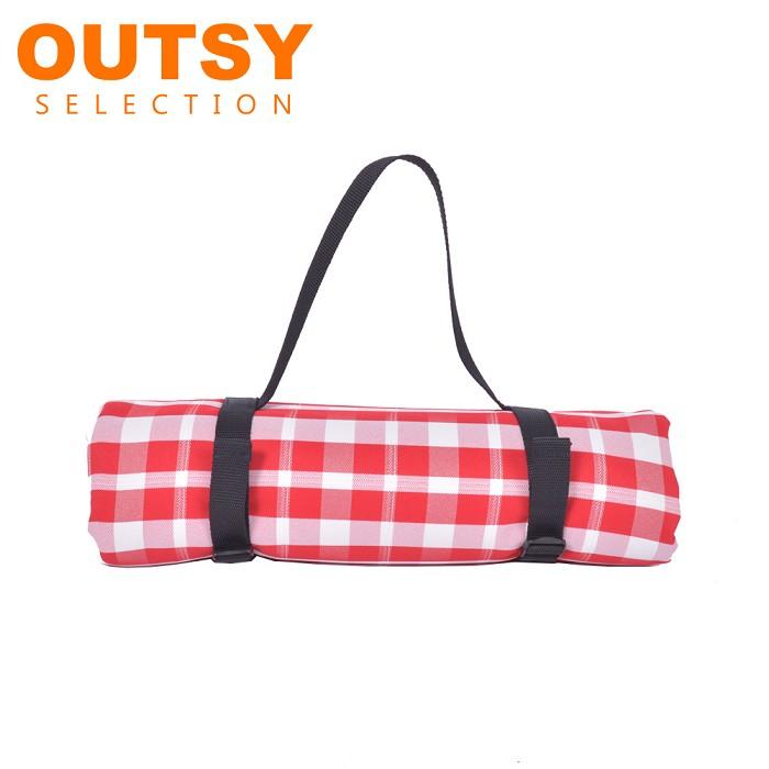戶外兩用防水桌巾/野餐墊 經典格紋 加大款 紅白細格