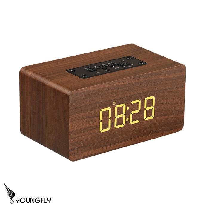 YoungFly 質感木紋時鐘無線藍牙喇叭