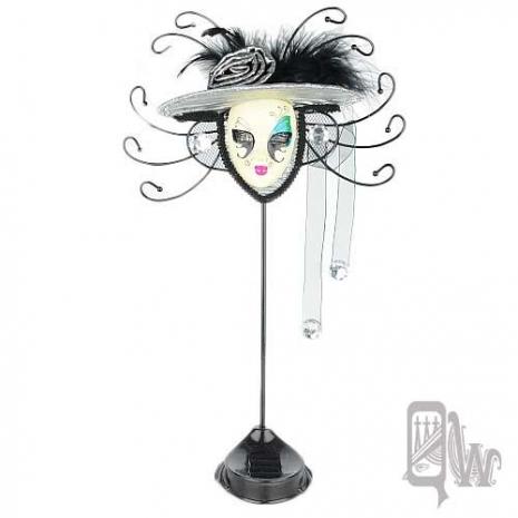 【QUEENWOODS】[飾品架]水鑽 玫瑰帽 面具-藍綠 眼影 鴛鴦蝴蝶夢
