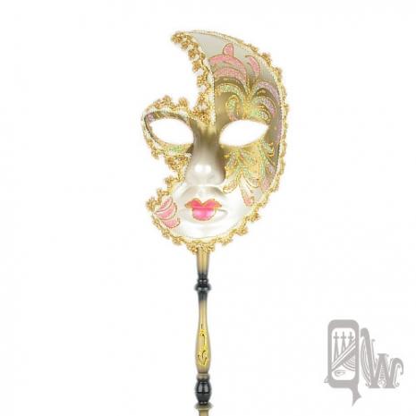 【QUEENWOODS】[面具]派對系列:白面金眼線桃唇 金邊女棒面具 粉黛佳人