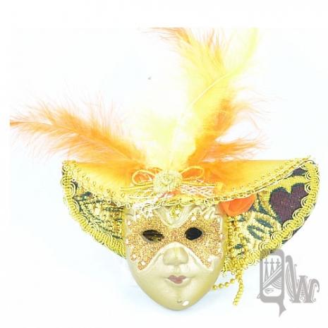【QUEENWOODS】[面具]派對系列:羽毛墨金大沿帽 小面具掛飾 金蒙面客