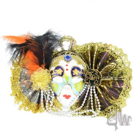 【QUEENWOODS】[面具]派對系列:對稱銀紫扇 小面具飾品 彩繪異想風