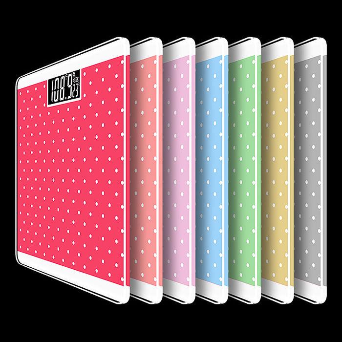 【Pure】 馬卡龍色系水玉點點電子體重機 x1台(共5色) 適用四號電池 體重計粉紅