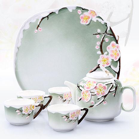 【Pure】梅花骨瓷茶具組6件組