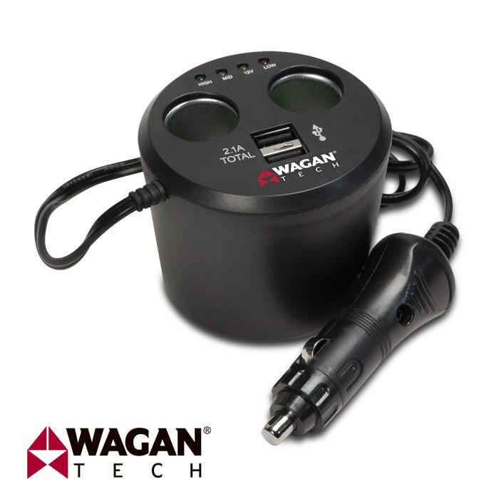 美國 WAGAN 雙孔USB點菸器擴充座 (2537-5)
