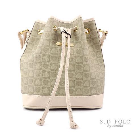 【Sandia Polo】優雅心型緹花系-暢銷抽繩/小水桶包/斜背包-米色-[Z0010/L760-PC34]