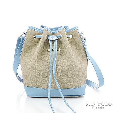 【Sandia Polo】優雅心型緹花系-暢銷抽繩小水桶包/斜背包-粉藍色-[Z0010/L760-PC34-3]