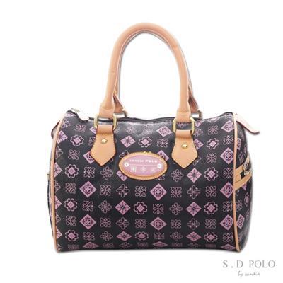 【Sandia Polo】MONOGRAM緹花-法式清甜手提波士頓包-粉紫色-[Z0005/S760-03M2]