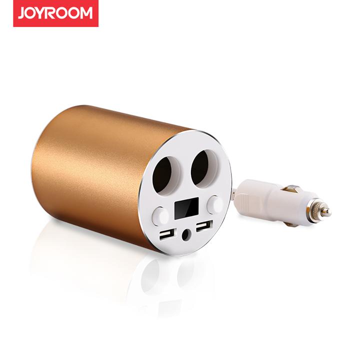 JOYROOM C-M208 鋁合金 雙USB雙點菸器杯型車用充電器