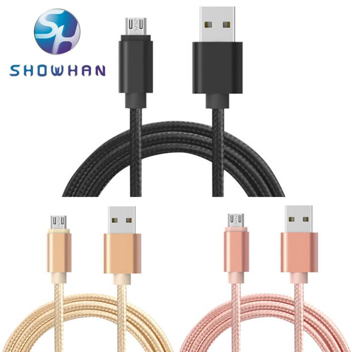 【SHOWHAN】 MicroUSB 2.1A大電流 充電傳輸編織數據線(25cm) (三色可選)