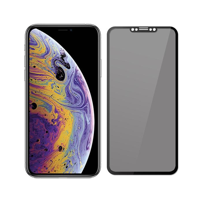【SHOWHAN】iPhone Xs/X 3D軟邊防窺9H鋼化玻璃保護貼/黑色
