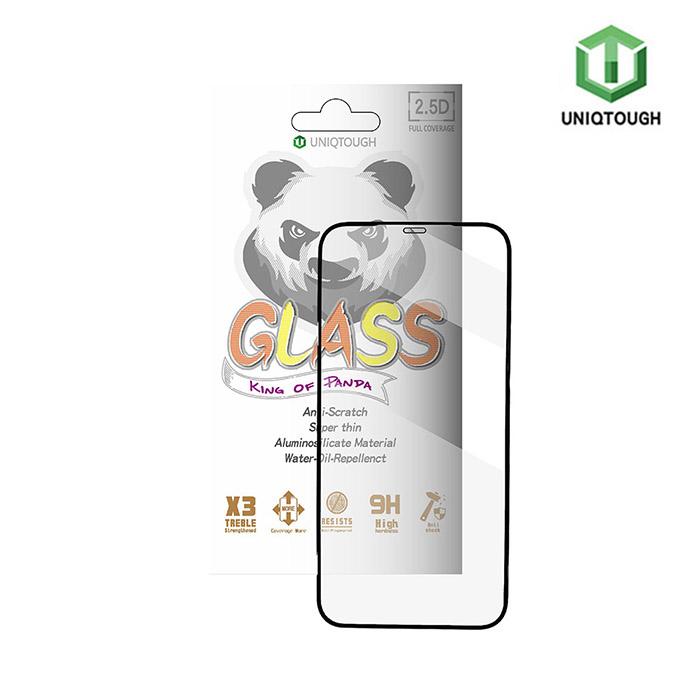 UNIQTOUGH iPhone12 mini (5.4吋)王者熊貓高透光耐衝擊滿版強化玻璃保護貼-黑邊