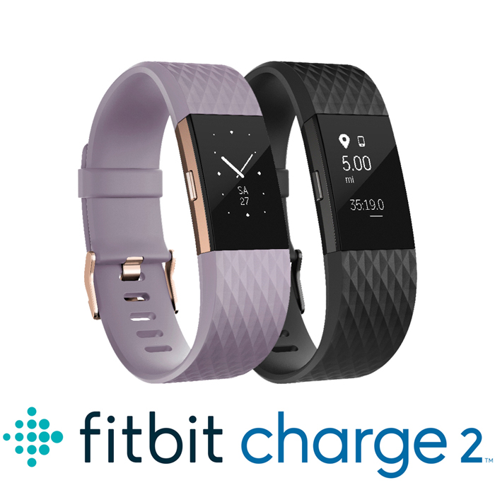 Fitbit Charge 2 無線心率監測專業運動手環 特別版 (消光黑/淡紫玫瑰金)