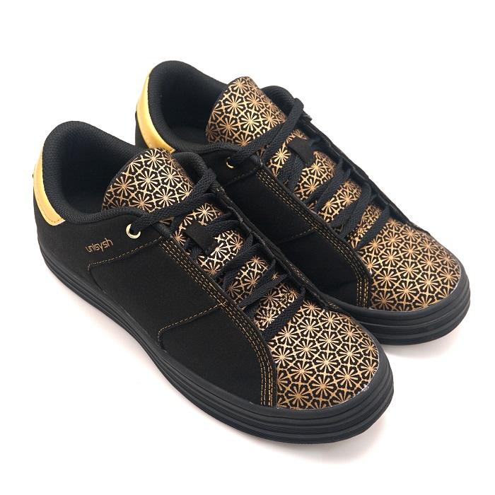Unisysh 中國風燙金花朵休閒鞋(黑)-服飾‧鞋包‧內著‧手錶-myfone購物