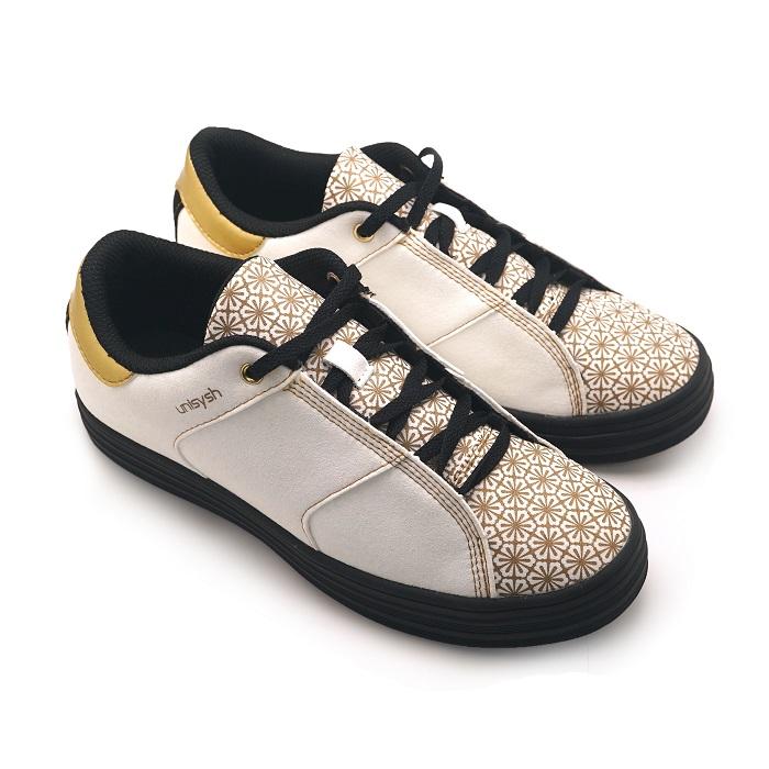 Unisysh 中國風燙金花朵休閒鞋(白)-服飾‧鞋包‧內著‧手錶-myfone購物