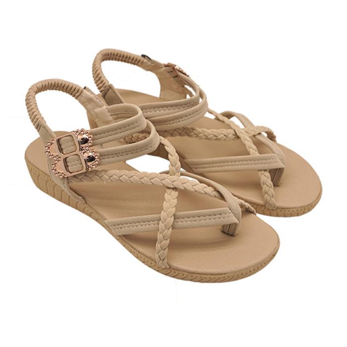 Unisysh 氣質編織X型涼鞋(米)