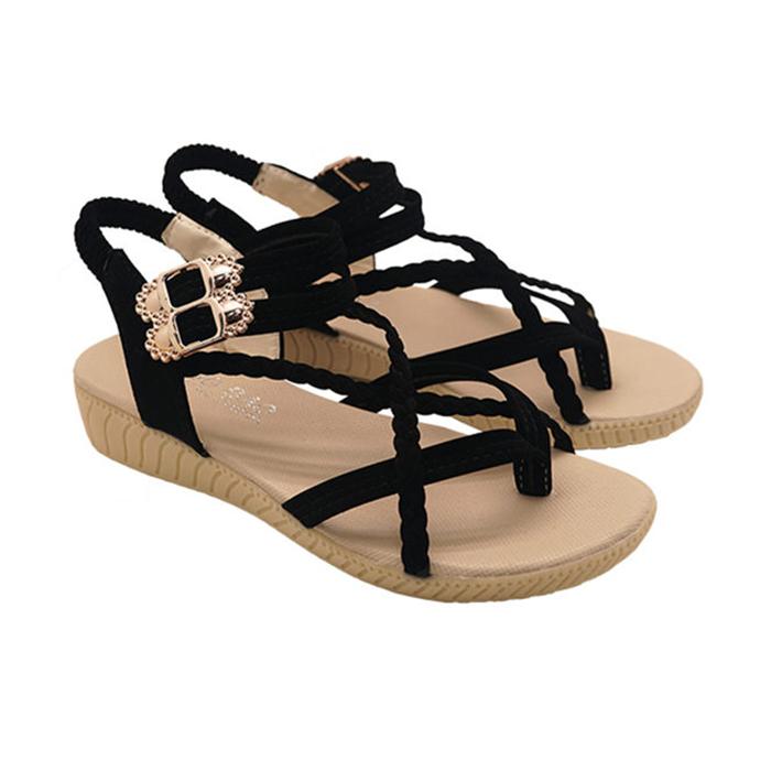 Unisysh 氣質編織X型涼鞋(黑)