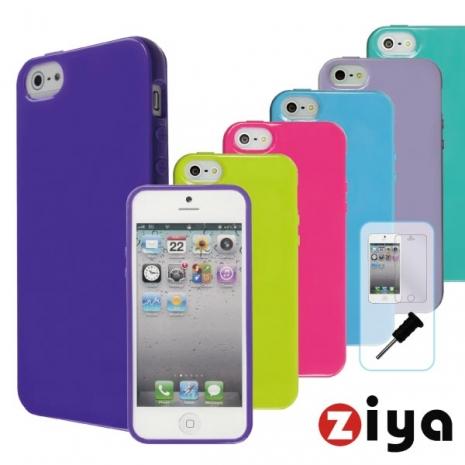 ZIYA iPhone 5 馬卡龍保護組合 - ( 深紫保護殼 + 保護貼 +耳機孔塞 )