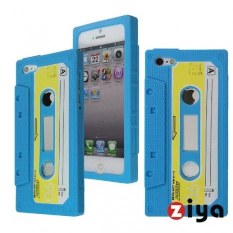 ZIYA iPhone 5 矽膠保護套 - 錄音帶造型 (藍色)