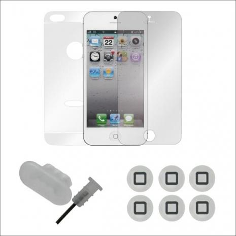 ZIYA Apple iPhone 5 抗反射機身保護貼配件組(防塵孔塞+按鈕貼)