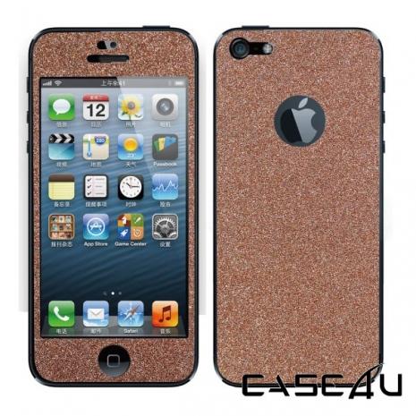 CASE4U iPhone 5 閃亮粉鑽螢幕機身保護貼(含機身邊條) - 玫瑰亮金