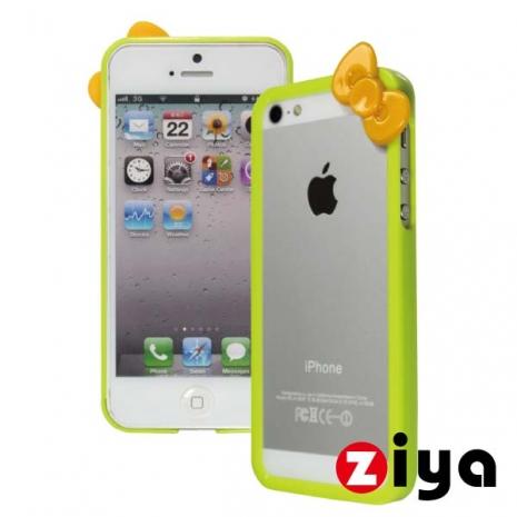 ZIYA iPhone 5/5s 炫彩蝴蝶結雙色邊框 - 草地綠