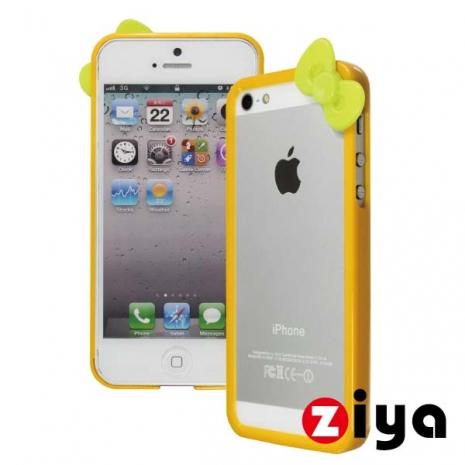 ZIYA iPhone 5/5s 炫彩蝴蝶結雙色邊框 - 絢麗黃