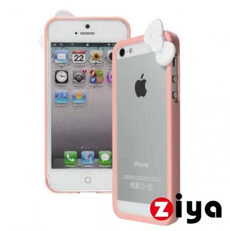 ZIYA iPhone 5/5s 炫彩蝴蝶結雙色邊框 - 輕粉紅