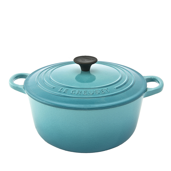 法國LE CREUSET-圓形鑄鐵鍋(加勒比海藍.直徑20cm)
