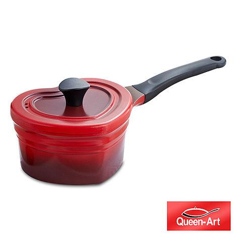 韓國Queen Art鑄造陶瓷愛心長柄湯鍋19CM(1鍋+1蓋)朝霞紅