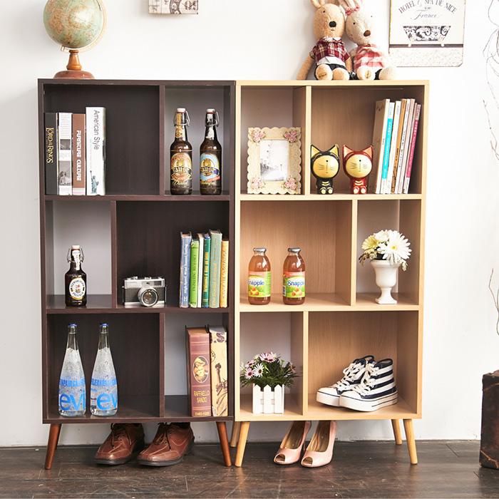 森林系居家生活收納書櫃胡桃色