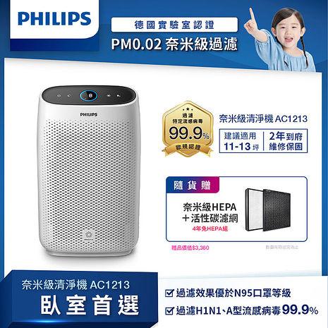 防疫首選【Philips 飛利浦】 舒眠抗敏空氣清淨機(AC1213)