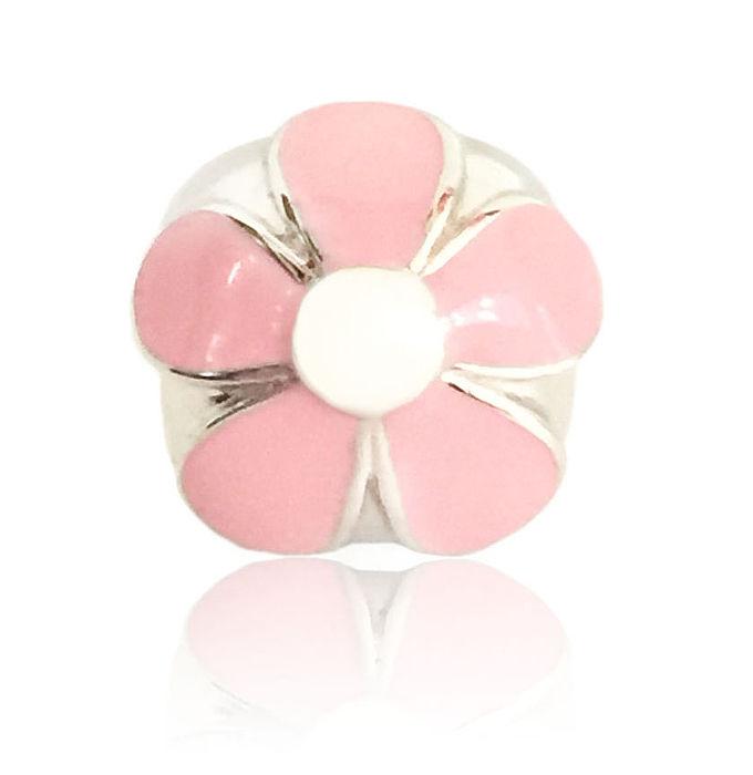 【儷禾柏珠寶】925純銀串珠 粉色花朵