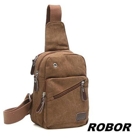 韓系型男 ROBOR原宿風帆布包單肩包單車包(棕色)