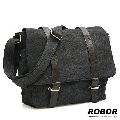 韓系型男 ROBOR典雅歐風休閒包/側背/斜背包(黑灰)