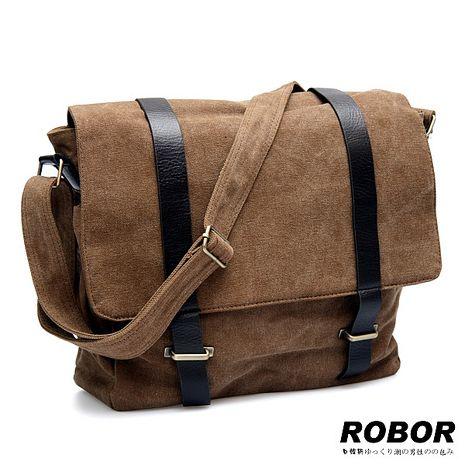 韓系型男 ROBOR典雅歐風休閒包/側背/斜背包(棕色)