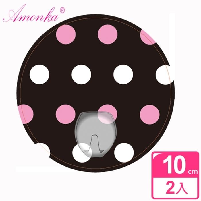 【AMONKA】3R神奇無痕掛勾(圓單勾)(普普風點點-粉色)2入