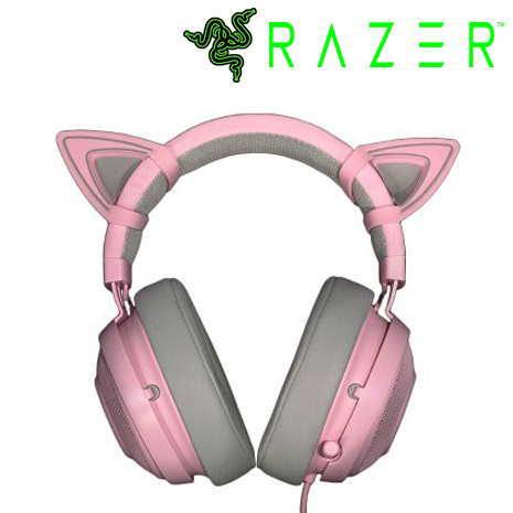 RAZER 雷蛇 Kraken 北海巨妖 粉色 粉晶 貓耳 電競耳機麥克風