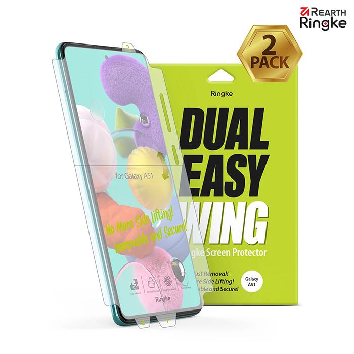 【Ringke】Rearth 三星 Samsung Galaxy A51 [Dual Easy Wing] 易安裝側邊滿版螢幕保護貼 - 二片裝