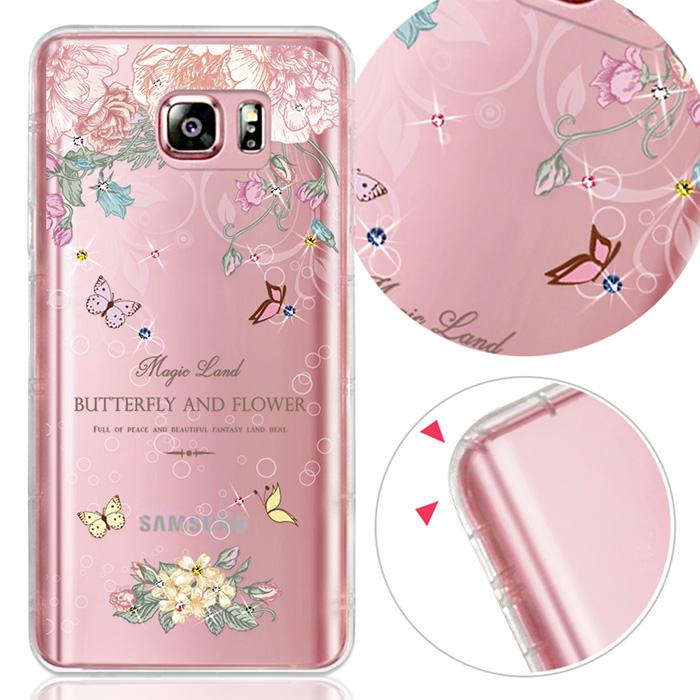 YOURS 三星 Galaxy Note5/N9200 奧地利水晶彩繪防摔氣墊手機鑽殼-蝴蝶谷