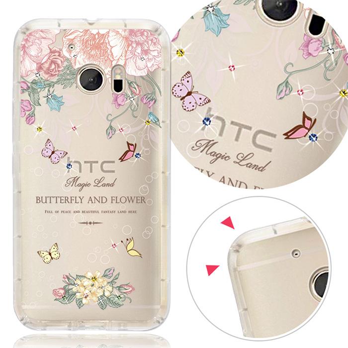 【客製化】YOURS HTC 全系列 奧地利彩鑽防摔手機殼-蝴蝶谷