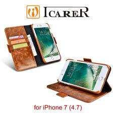 ICARER 復古油蠟 iPhone 7 多 錢包背蓋二合一 真皮皮套
