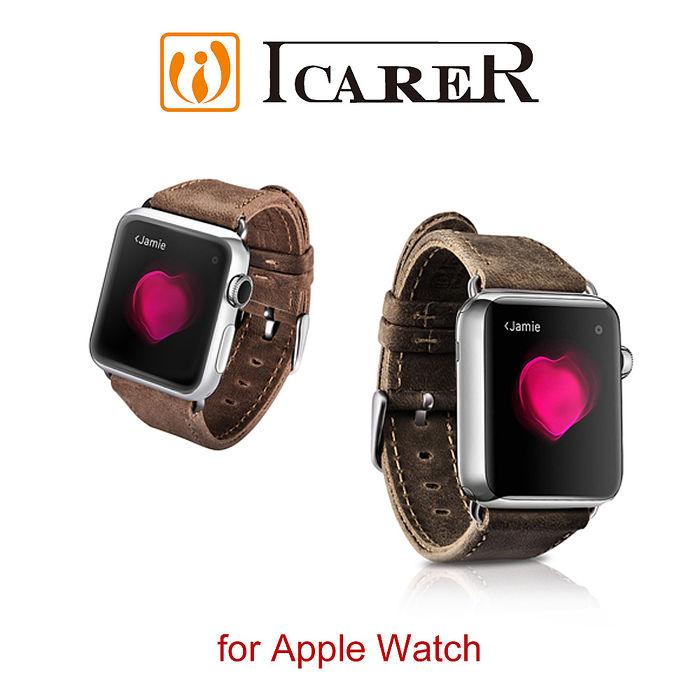 ICARER 瘋馬紋系列 Apple Watch 手工真皮錶帶42mm / 黑棕