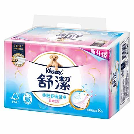 舒潔 炫彩特級舒適抽取衛生紙110抽(8包x4串/組)